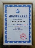 2012年合同信用<br>等级AAA级